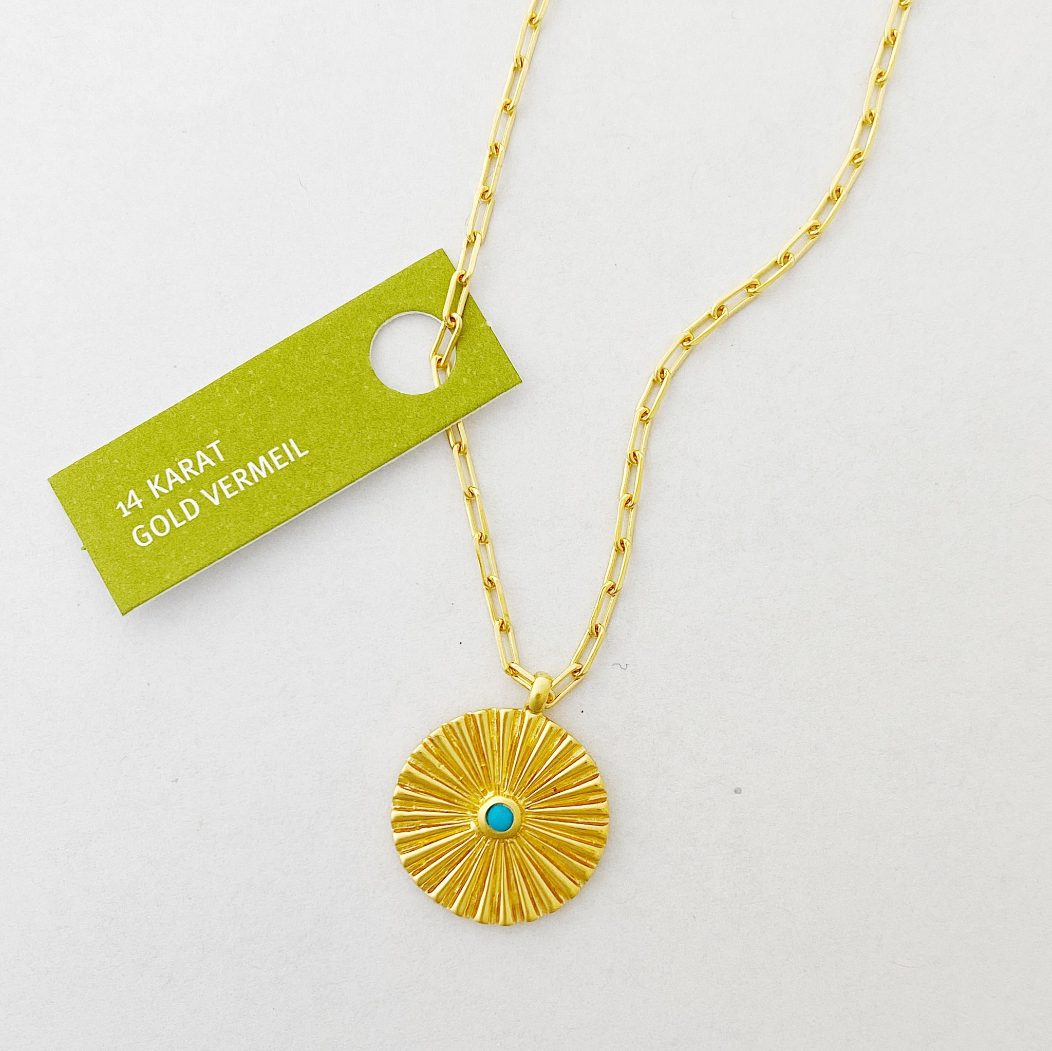 Tashi Gold Sunray Token Necklace w Turquoise