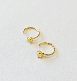 Tashi Gold Huggie Hoop w Opal