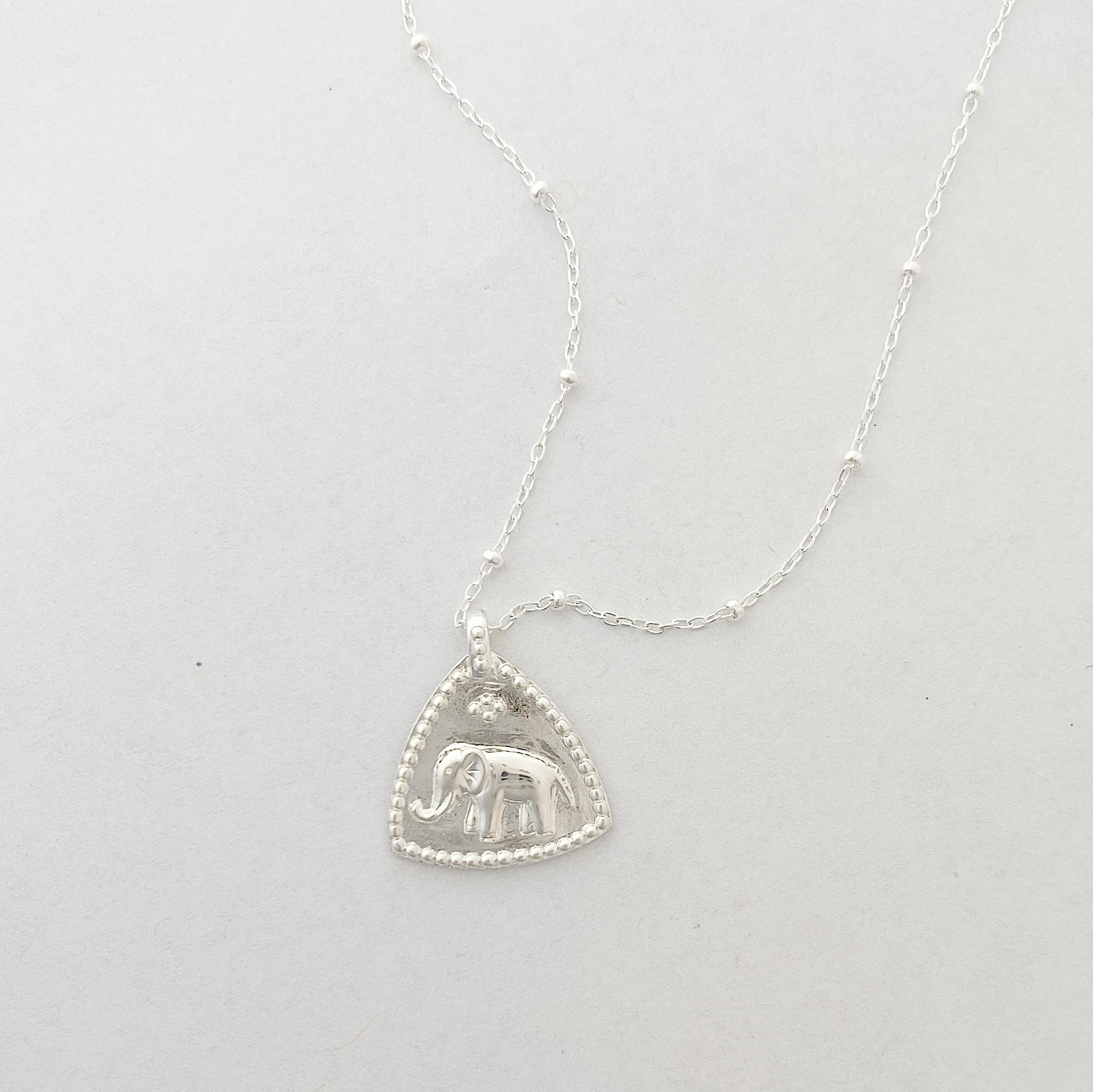 Tashi Silver Elephant Token Necklace