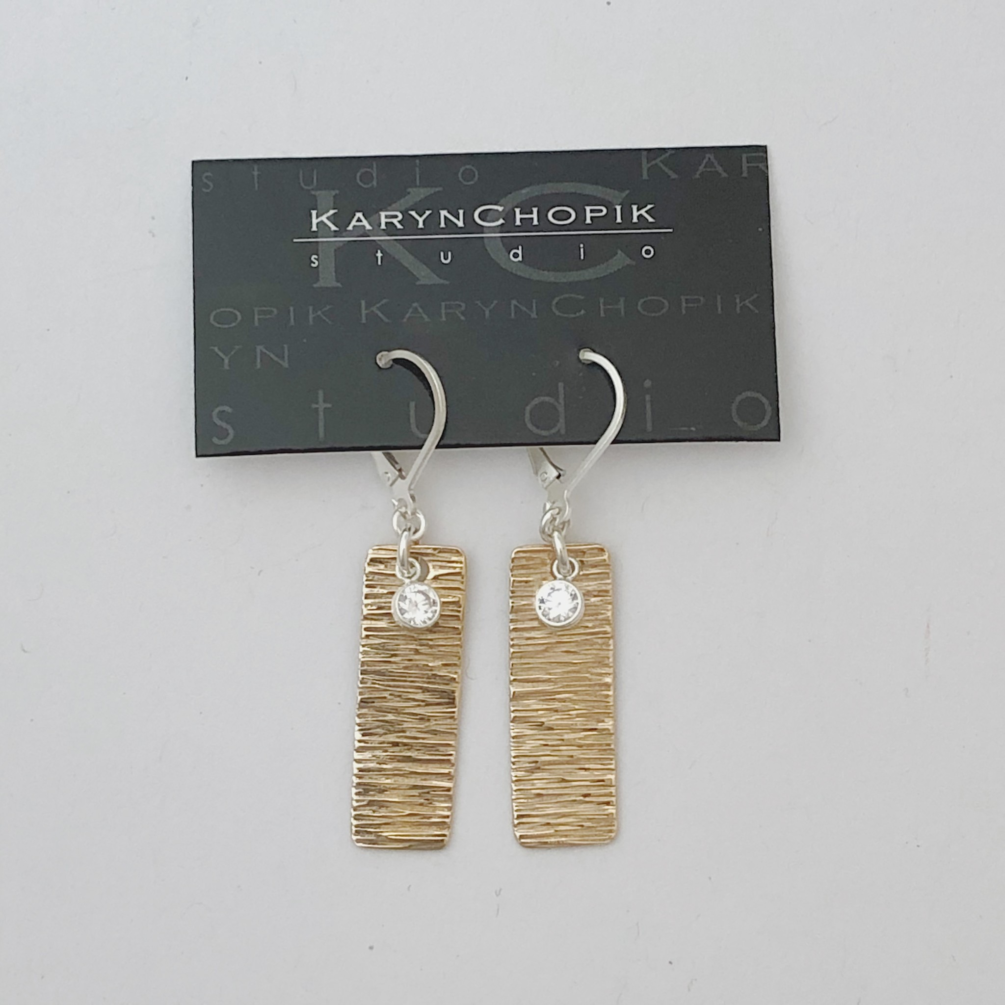 Karyn Chopik Sterling and Bronze Textured Bar Earring w CZ