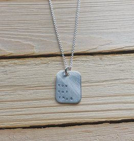 """Andrea Waines Mod Square """"You Got This"""" Necklace 18"""""""