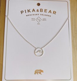 "Pika & Bear Silver ""Baja"" Wave Necklace 17-19"""