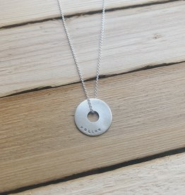 """Andrea Waines Small Silver Halo Necklace """"Follow Your Heart"""" 18"""""""