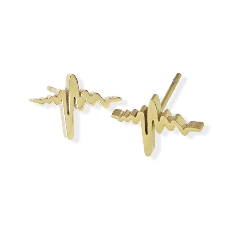 Fab Accessories Heartbeat Stud- Gold