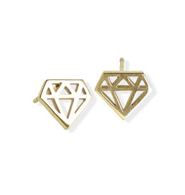 Fab Accessories Origami Diamond Stud- Gold
