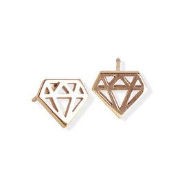 Fab Accessories Origami Diamond Stud- Rose Gold