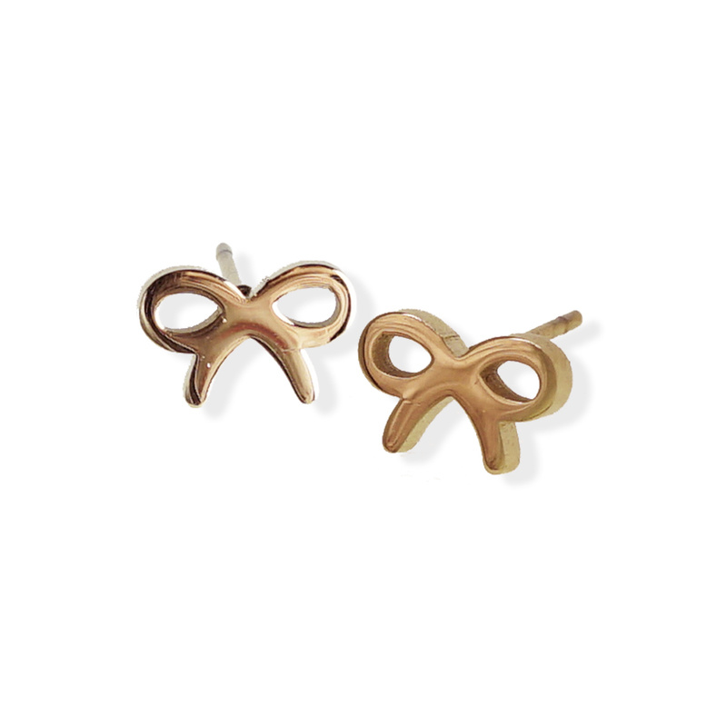 Fab Accessories Bow Stud- Rose Gold