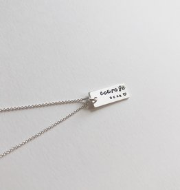 """Andrea Waines """"Courage Dear Heart"""" Inspired Rectangle Necklace 18"""""""