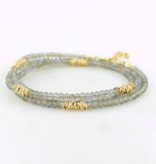 Dianne Rodger Gold Mini Twists and Labradorite Wrap/ Necklace