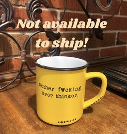 "Lace and Twig ""Over Thinker"" Mug- Yellow"