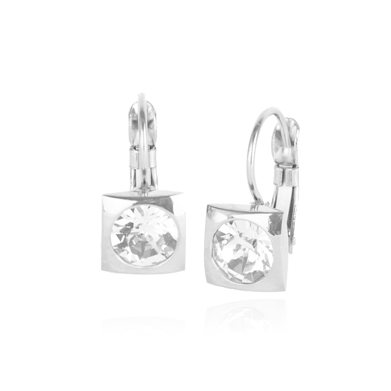 Fab Accessories Classic Square Crystal Drop- Clear/ Silver