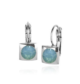 Fab Accessories Classic Square Crystal Drop- Pacific Opal/ Silver