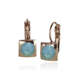Fab Accessories Classic Square Crystal Drop- Pacific Opal/ Rose Gold