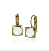 Fab Accessories Classic Square Crystal Drop- White Opal/ Gold
