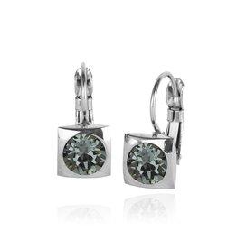 Fab Accessories Classic Square Crystal Drop- Black Diamond/ Silver