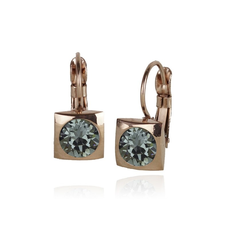 Fab Accessories Classic Square Crystal Drop- Black Diamond/ Rose Gold