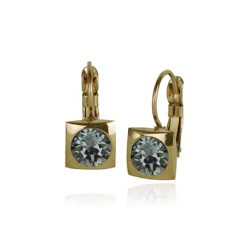 Fab Accessories Classic Square Crystal Drop- Black Diamond/ Gold