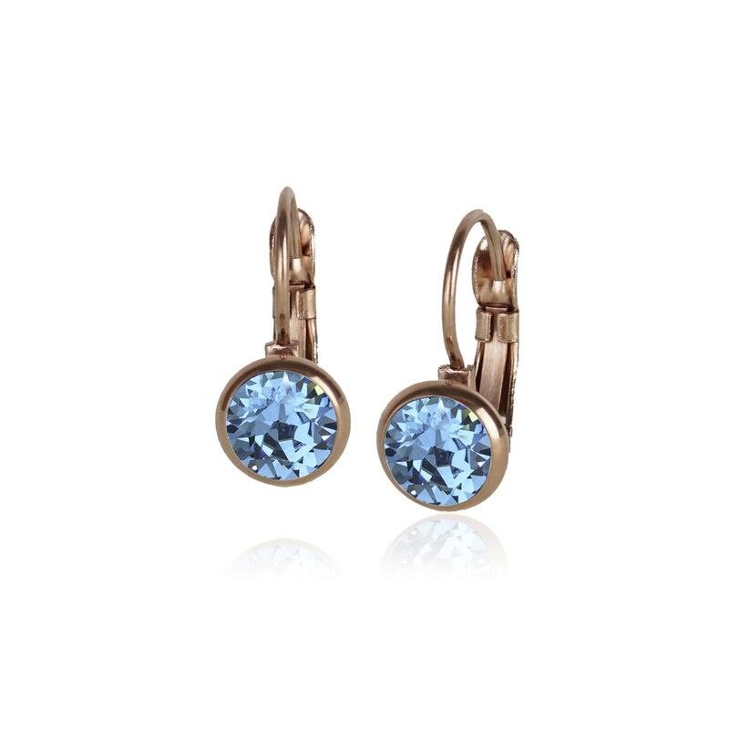 Fab Accessories Classic Crystal Drop- Aquamarine/ Rose Gold