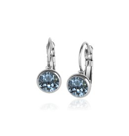 Fab Accessories Classic Crystal Drop- Indian Sapphire/ Silver