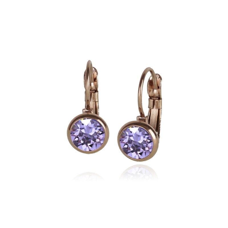 Fab Accessories Classic Crystal Drop- Violet/ Rose Gold