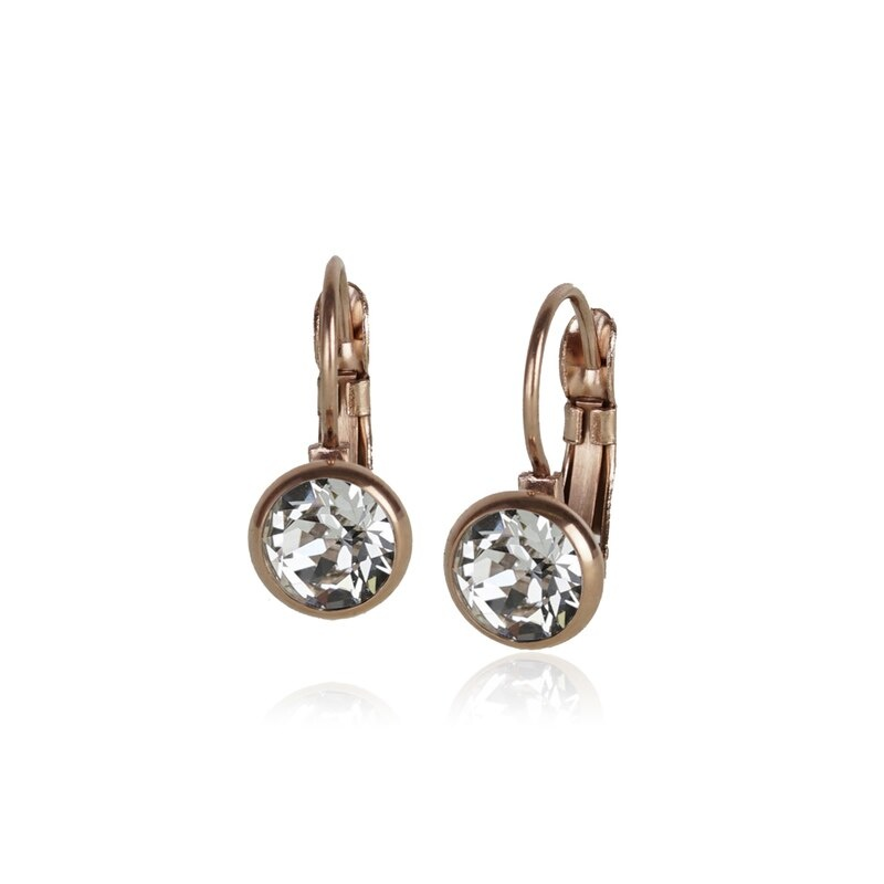 Fab Accessories Classic Crystal Drop- Clear/ Rose Gold