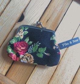 Pika & Bear Roses Change Purse- Black