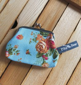 Pika & Bear Roses Change Purse- Blue