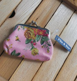 Pika & Bear Roses Change Purse- Pink