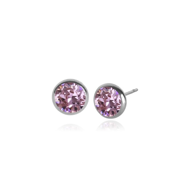 Fab Accessories Classic Crystal Stud- Light Rose/ Silver