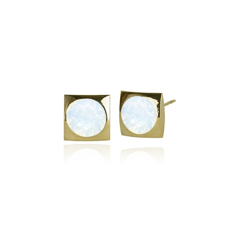 Fab Accessories Classic Square Crystal Stud- White Opal/ Gold