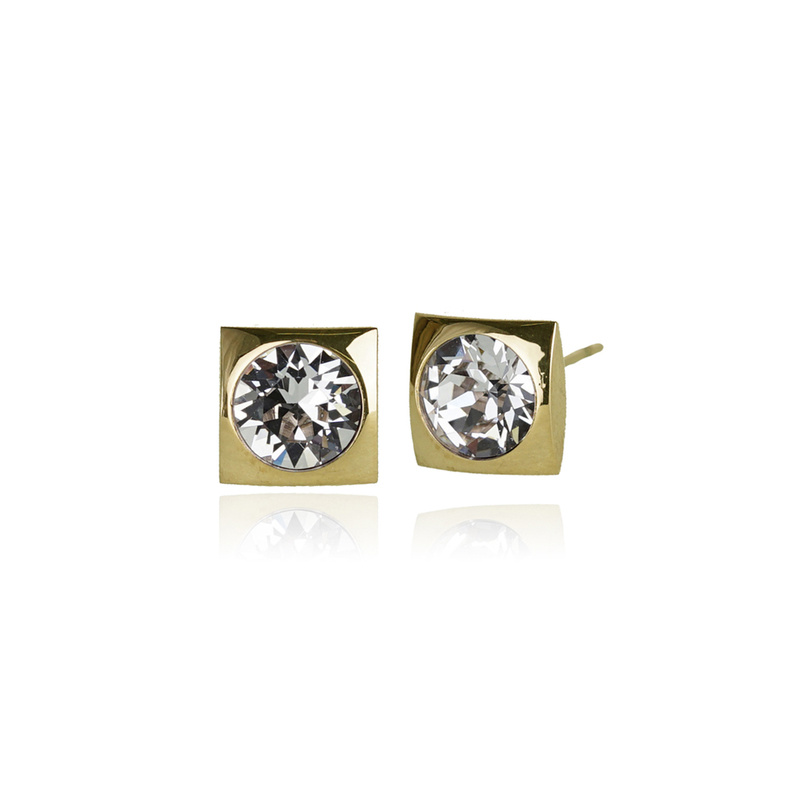 Fab Accessories Classic Square Crystal Stud- Clear/ Gold