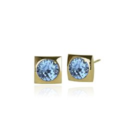 Fab Accessories Classic Square Crystal Stud- Aquamarine/ Gold