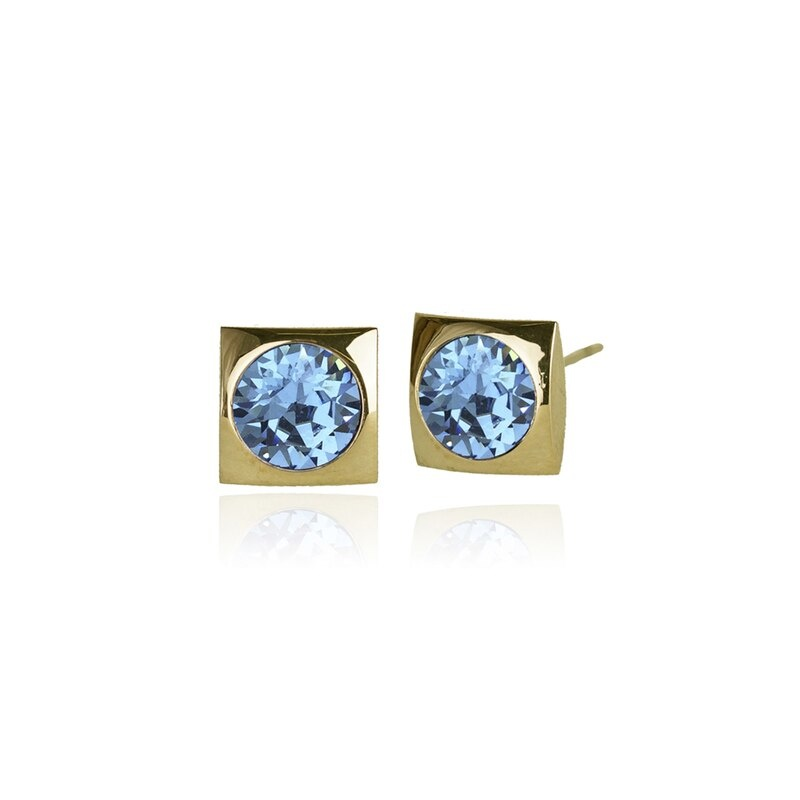 Fab Accessories Classic Square Crystal Stud- Aquamarine/ Gold