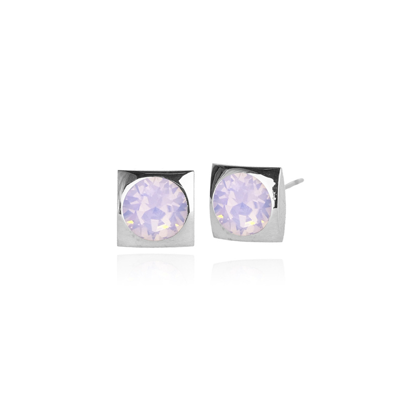 Fab Accessories Classic Square Crystal Stud- Pink Opal/ Silver