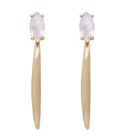 Sarah Mulder Rai Earring- Gold/ Rose Quartz