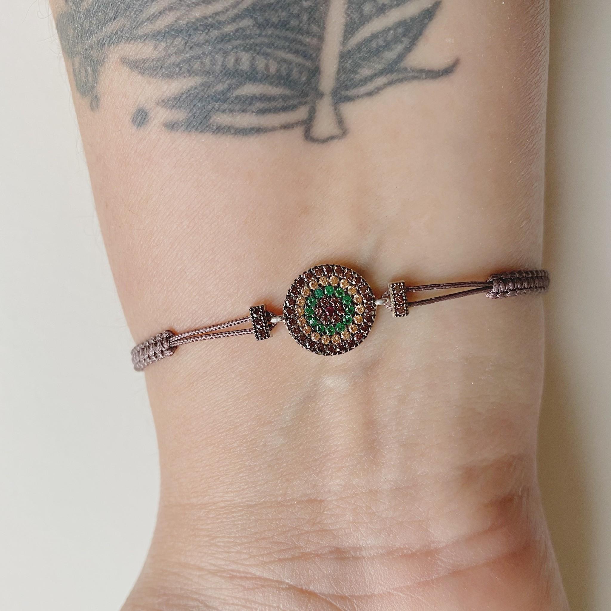 Kurshuni Jewellery CZ Vortex Adjustable Cord Bracelet- Taupe
