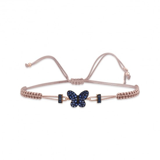 Kurshuni Jewellery Rose Gold Pave Butterfly Adjustable Cord Bracelet