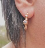 Kurshuni Jewellery Rose Gold CZ Ball Hoops
