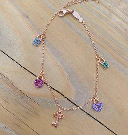 Kurshuni Jewellery Rose Gold Lock & Key Charm Bracelet