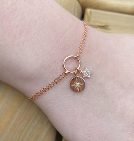 Kurshuni Jewellery Rose Gold Star Charm Bracelet