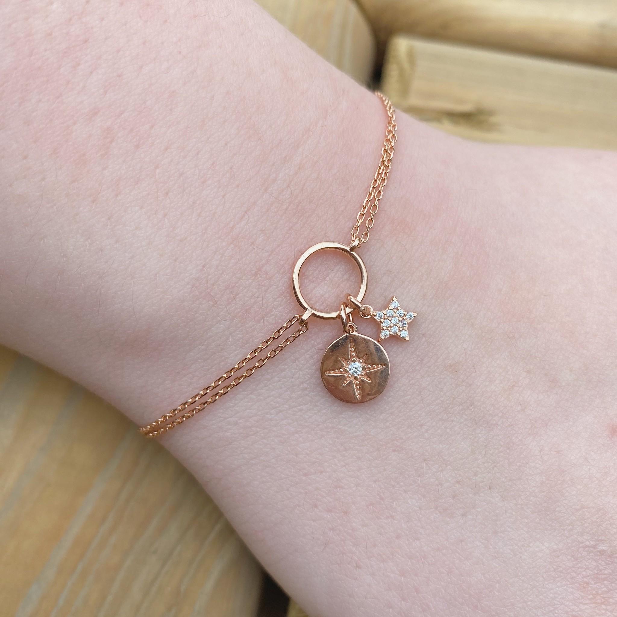 Kurshuni Jewellery Rose Gold Star Charm Bracelet