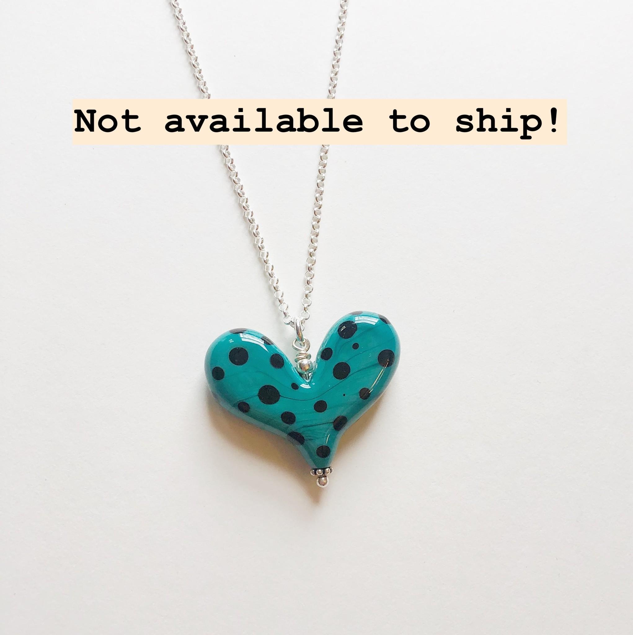 "Worn Beadies Teal Polka Dot Glass Heart Necklace 18"""
