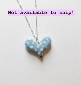 "Worn Beadies Baby Blue Polka Dot Glass Heart Necklace 18"""