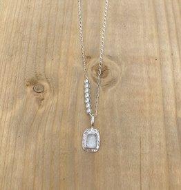 "Lissa Bowie Silver Salerno Necklace- Clear Quartz 26"""