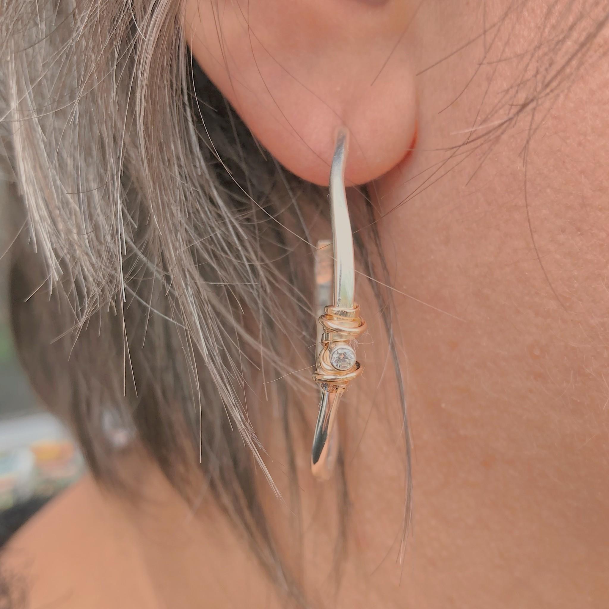 Joy Annett Designs Medium Gold Coiled Stone Hoop