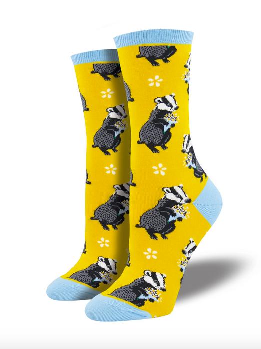SockSmith Bashful Badger Socks- Yellow