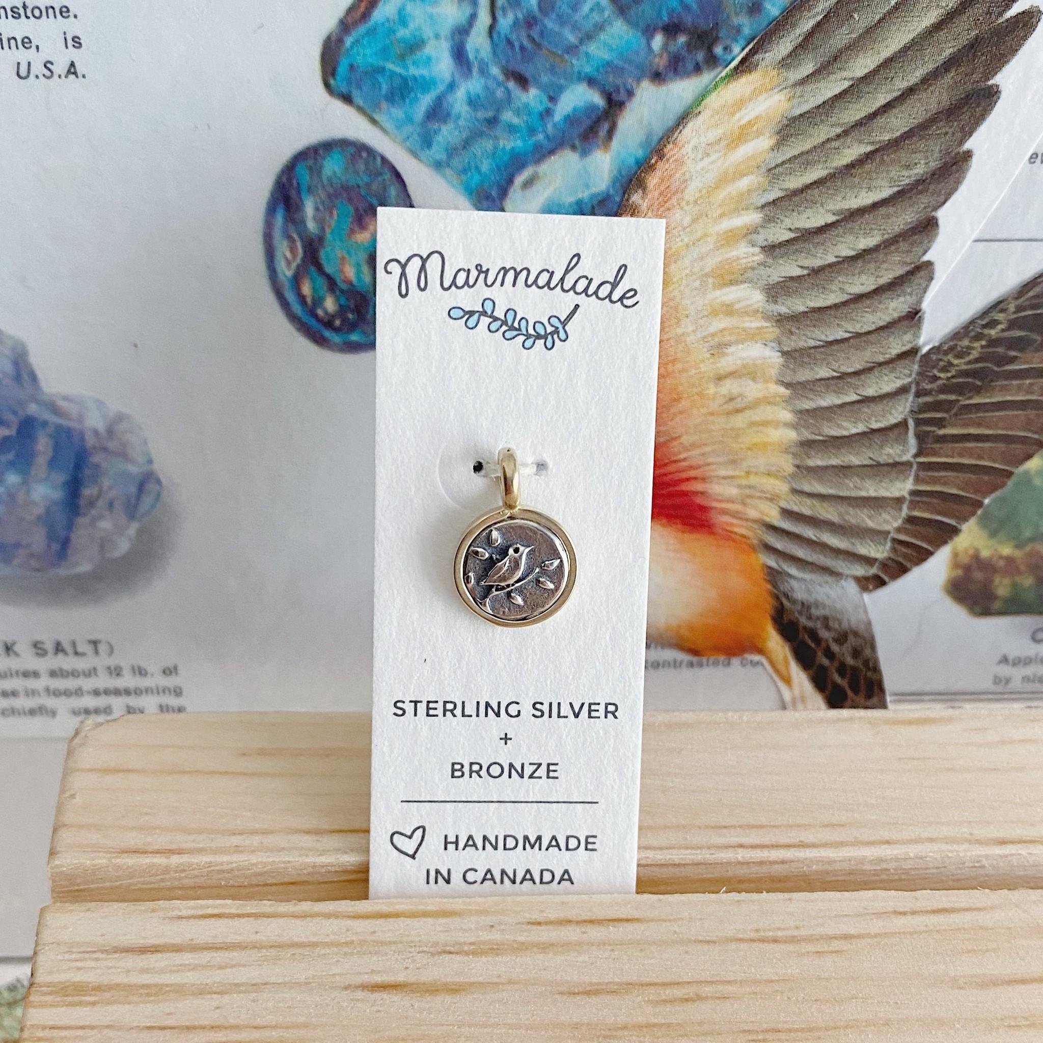 Marmalade Tiny Bird on a Branch Charm