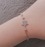 Kurshuni Jewellery Adjustable CZ Star Bracelet- Silver/ Pink