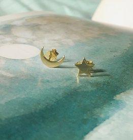 Tashi Gold Moon and Star Studs