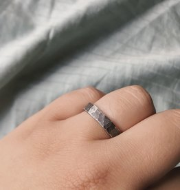 Silver Suspensions Hammered Square Forged Ring- Dark